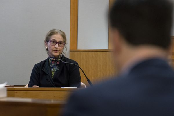 Alice Rogoff answers questions during the first day of the trial. A lawsuit between former Alaska Dispatch editor Tony Hopfinger and owner Alice Rogoff began on November 14, 2018. Hopfinger claims he is owed money that he said Rogoff agreed to pay on a cocktail napkin. (Marc Lester / ADN)