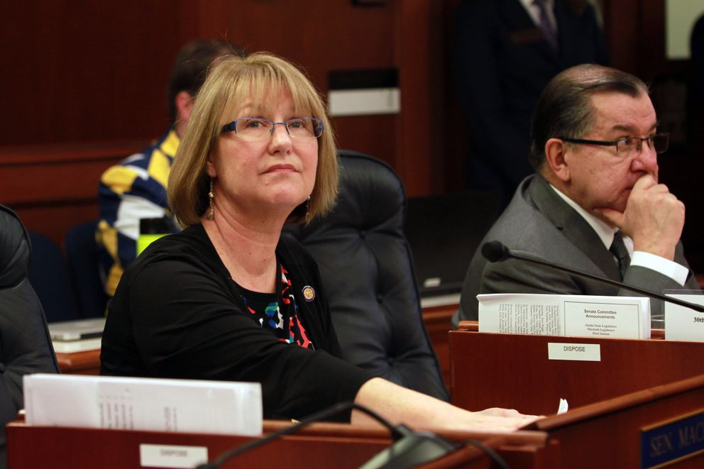 Eagle River Republican Sen. Anna MacKinnon sits in the Senate chambers earlier this year. (Nathaniel Herz / Alaska Dispatch News)