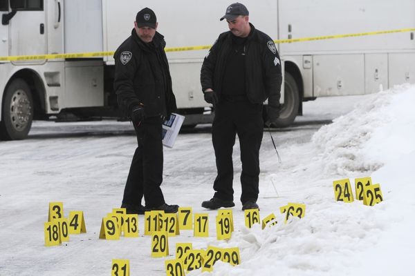 Anchorage Police investigate the scene of an officer-involved shooting in Airport Heights on Thursday, March 7, 2019. (Bill Roth / ADN)