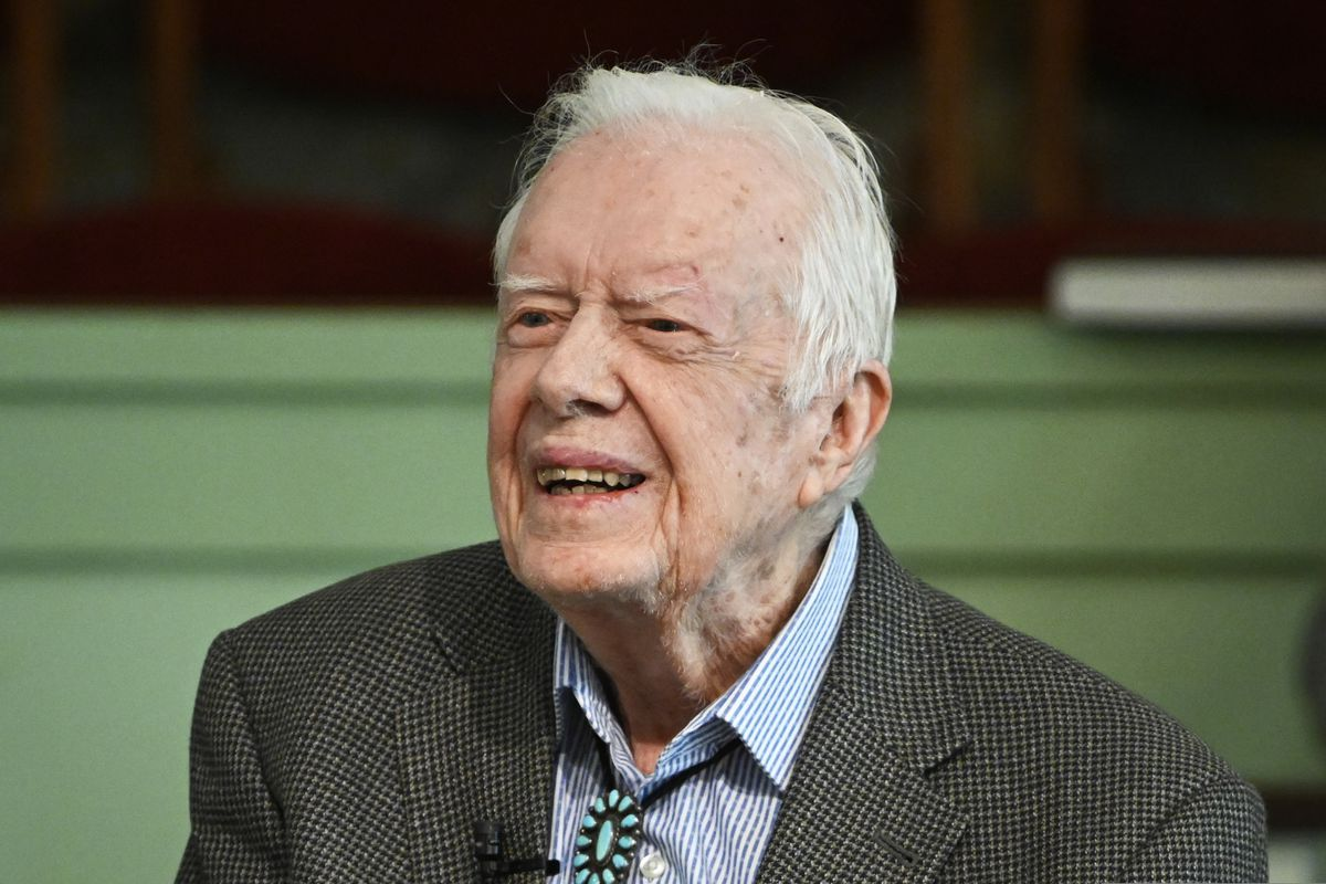 In this Sunday, Nov. 3, 2019, photo, former President Jimmy Carter teaches Sunday school at Maranatha Baptist Church in Plains, Ga. Carter has been admitted to Emory University Hospital for a procedure to relieve pressure on his brain, caused by bleeding due to his recent falls. A spokeswoman says the procedure is scheduled for Tuesday morning, Nov. 12. (AP Photo/John Amis)