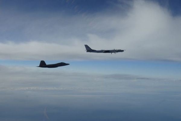 Two Russian bombers were intercepted west of Alaska's mainland on Sept. 11, 2018. (NORAD)