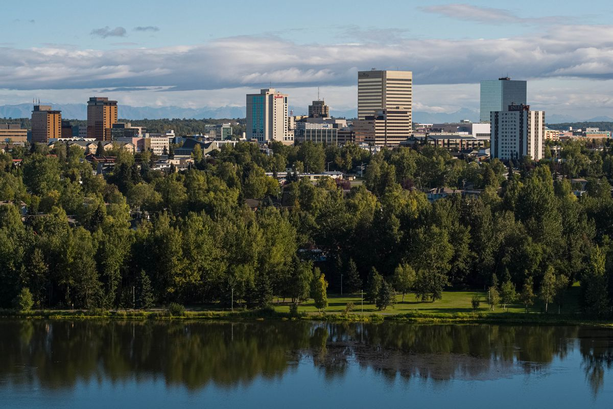 Downtown Anchorage, seen from Westchester Lagoon on Thursday, Sept. 10, 2020. (Loren Holmes / ADN)