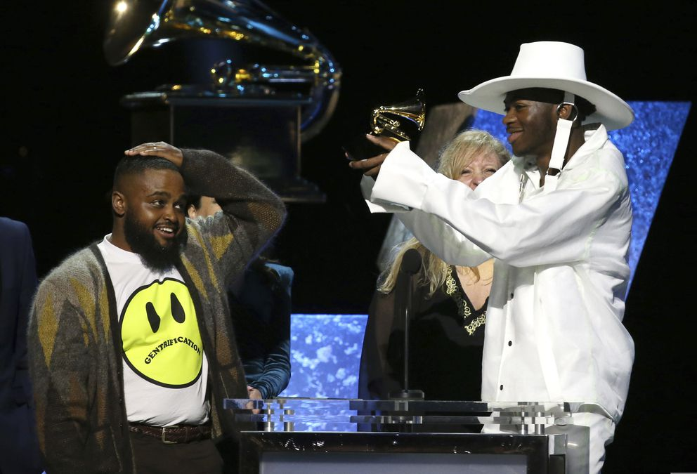 Calmatic, left, and Lil Nas X accept the award for best music video for 'Old Town Road (Official Movie) ' at the 62nd annual Grammy Awards on Sunday, Jan. 26, 2020, in Los Angeles. (Photo by Matt Sayles/Invision/AP)
