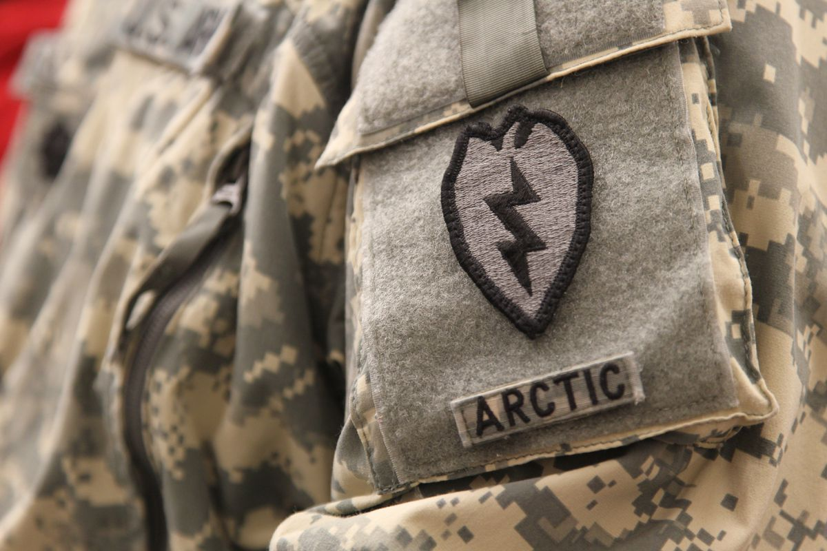 A soldier at Fort Wainwright, Alaska, proudly wears his