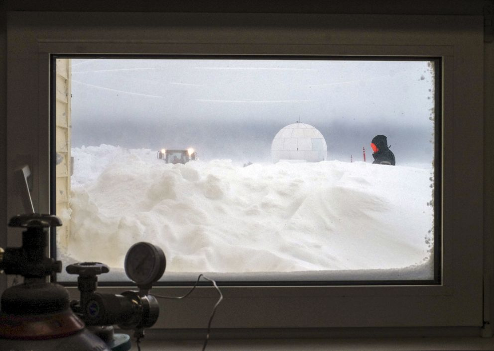 The View through a window at the Barrow Atmospheric Baseline Observatory in Utqiaġvik, Alaska, on April 11, 2019. (Washington Post photo by Bonnie Jo Mount)