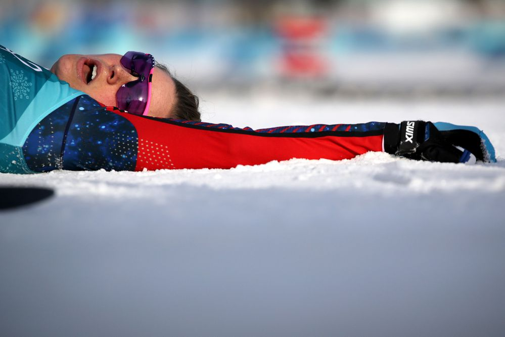 Jessica Diggins of the U.S. reacts after the women's 10km race. (REUTERS/Carlos Barria)