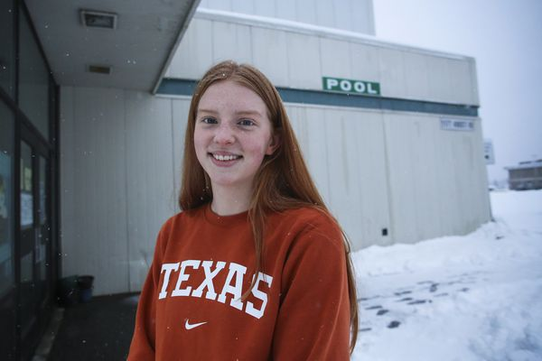 Seward High School junior Lydia Jacoby outside the pool at Service High School in Anchorage on Tuesday, Dec. 8, 2020. Jacoby is one of the nation's top breaststroke swimmers in her age group and recently chose to attend the University of Texas after being recruited by some of the country's top swim schools. (Emily Mesner / ADN)