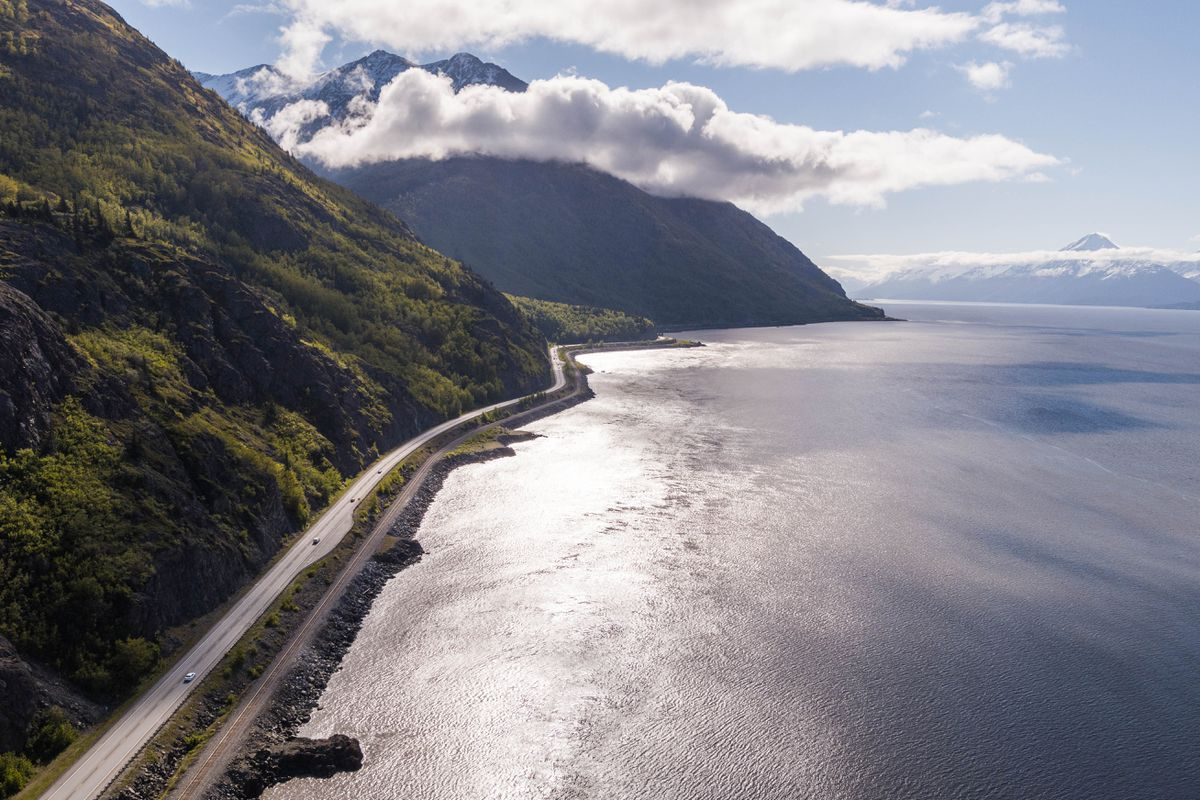 The Seward Highway, along Turnagain Arm south of Anchorage on Tuesday, May 30, 2017. (Loren Holmes / Alaska Dispatch News)