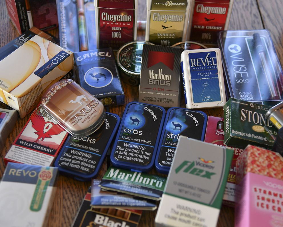 A collection of alternative tobacco and smoking products shown at the Campaign for Tobacco-Free Kids in Washington. (Washington Post photo by Ricky Carioti)