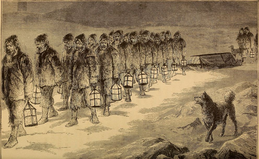 "The funeral of Capt. Charles Francis Hall from ""The Frozen Zone and Its Explorers; A Comprehensive Record of Voyages, Travels, Discoveries, Adventures and Whale-Fishing in the Arctic Regions for One Thousand Years"" (Wikimedia Commons)"