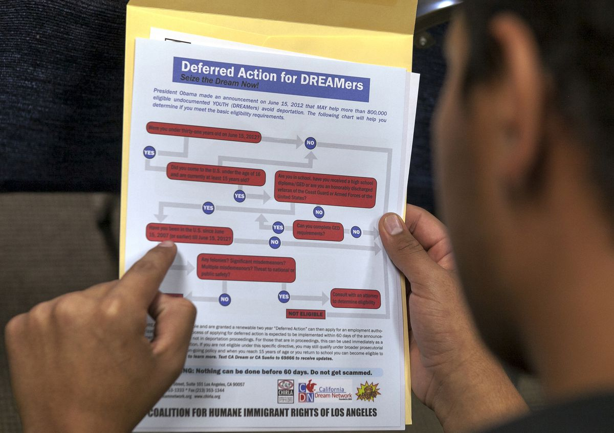 In this Aug. 15, 2012 file photo, a legal immigrant reads a guide of the conditions needed to apply for Obama-era Deferred Action for Childhood Arrivals (DACA) program at the Coalition for Humane Immigrant Rights, CHIRLA offices in Los Angeles. (AP Photo/Damian Dovarganes, File)