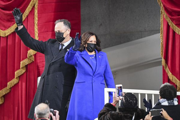 Vice President-elect Kamala D. Harris and Doug Emhoff arrive before Joe Biden is sworn in as 46th President of the United States. MUST CREDIT: Washington Post photo by Jonathan Newton