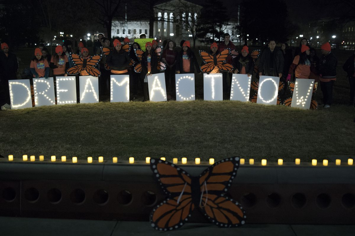 Demonstrators at a rally in support of the Dream Act on Capitol Hill in Washington, Jan. 21, 2018. (Tom Brenner/The New York Times)