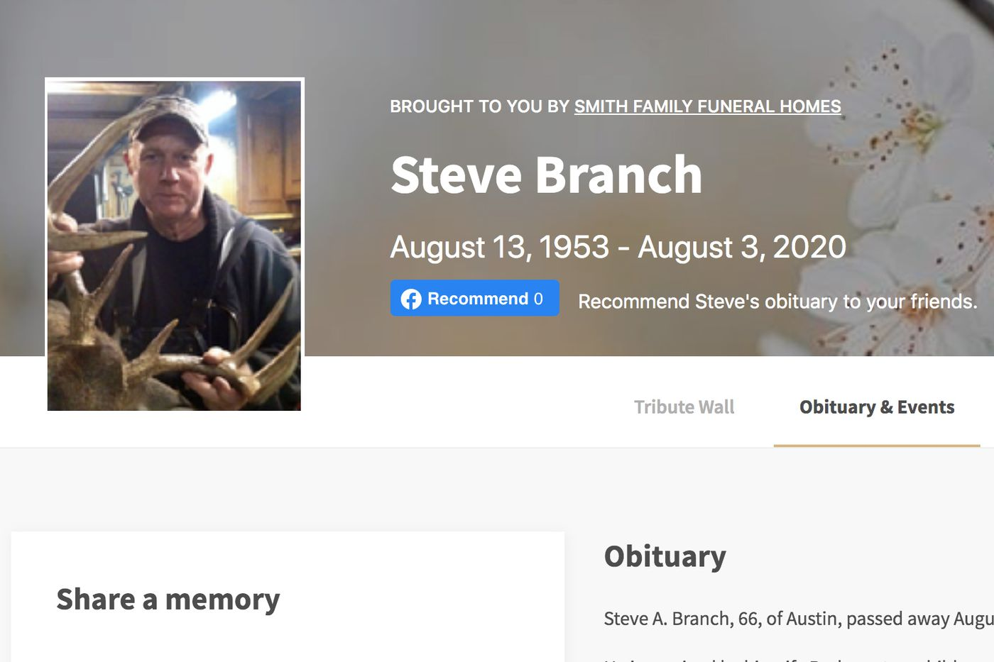Screenshot of the obituary page for Steve Branch. Alaska officials announced Aug. 11, 2020 that Branch had killed Jessica Baggen in 1996.
