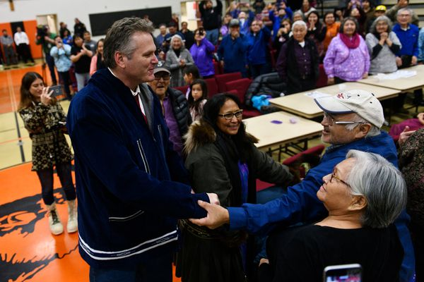 Gov. Mike Dunleavy is greeted in Noorvik on December 3, 2018. His inauguration was supposed to happen there, but weather caused his delayed arrival. He was inaugurated in Kotzebue. (Marc Lester / ADN)