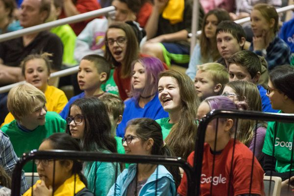 7th-grader Jazzie Trotter reacts after being named the Alaska State Finalist in the Doodle 4 Google contest Thursday at Mirror Lake Middle School. Her entry