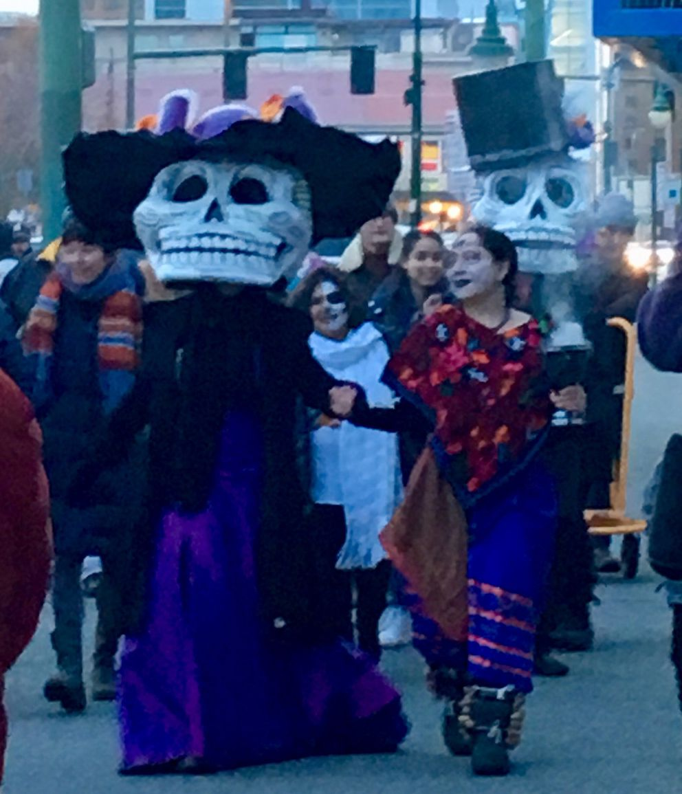 Día de Muertos procession in Anchorage, 2018. (Photo by Cady Lister, courtesy of Indra Arriaga)