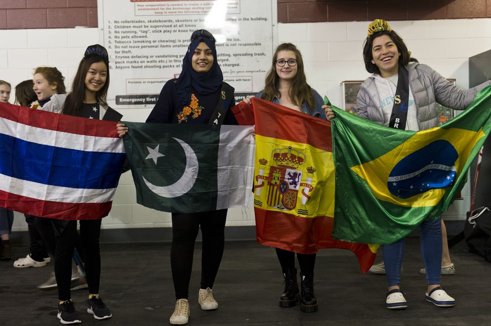 Four exchange students participated in girls junior varsity hockey this season, including, from left, Jom Pukkanavanich of Thailand, Leena Tarar of Pakistan, Alicia Prieto of Spain and Giulia Brunetta of Brazil. Photographed on January 25, 2019. (Marc Lester / ADN)