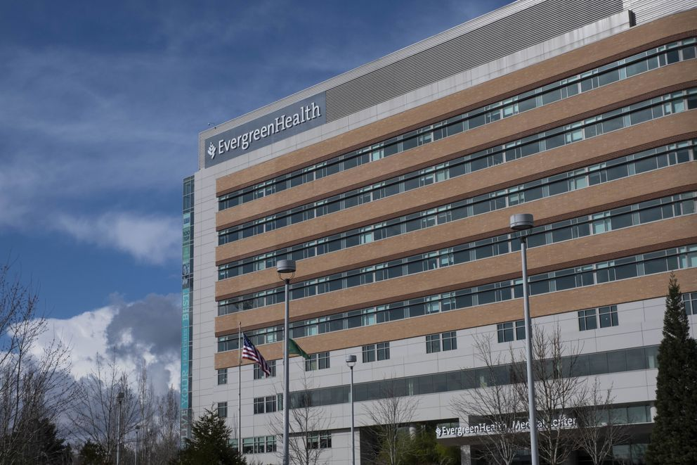 The first known death in the U.S. due to the coronavirus occurred at EvergreenHealth Medical Center in Kirkland, Wash. The man who died was in his 50s, had underlying health conditions and no history of travel or contact with a known COVID-19 case, health officials in Washington state said at a news conference. A spokesperson for EvergreenHealth, Kayse Dahl, said the person died in the facility in the Seattle suburb of Kirkland. (Dean Rutz/The Seattle Times via AP)