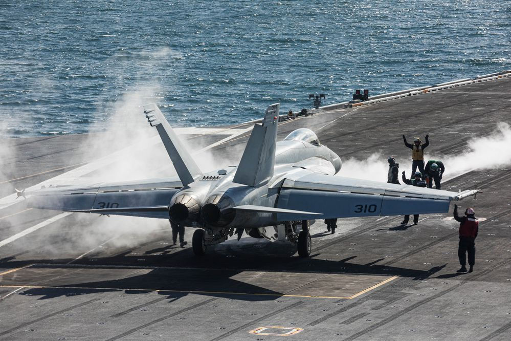 A F/A-18 Super Hornet prepares to take off on Wednesday, May 23, 2019 from the USS Theodore Roosevelt Nimitz-class aircraft carrier in the Gulf of Alaska south of Seward. The fighter jets are launched with the help of a steam-powered catapult, which can accelerate a 66,000 pound aircraft like a fully-loaded Super Hornet from 0-150 mph in under three seconds. (Loren Holmes / ADN)