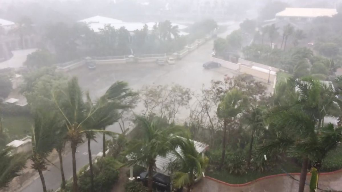 Hurricane Irma descends on Providenciales, in the Turks and Caicos Islands, in this still image taken from a Thursday social media video. (Aneesa Khan/via REUTERS)