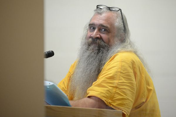 Bret Maness is arraigned in front of judge Douglas Kossler for terroristic threats, assault and burglary at the Anchorage Jail Court in Anchorage, AK on Friday April 27, 2018. (Bob Hallinen / ADN)