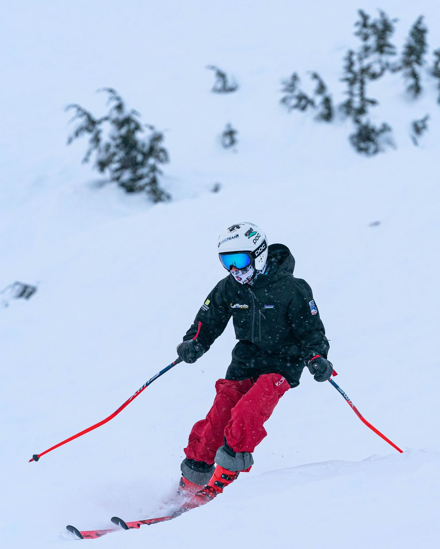 A skier at Alyeska wears a mask. (Loren Holmes / ADN)