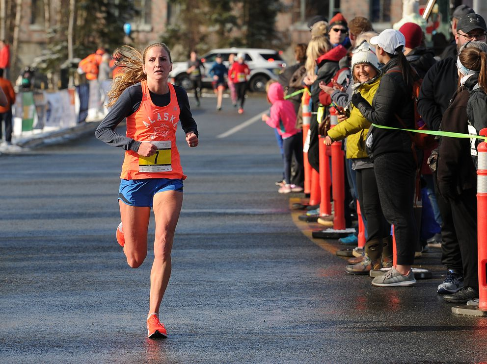Third-place Hallidie Phillips, a three-time champion, approaches the finish line. (Photo by Bob Hallinen)