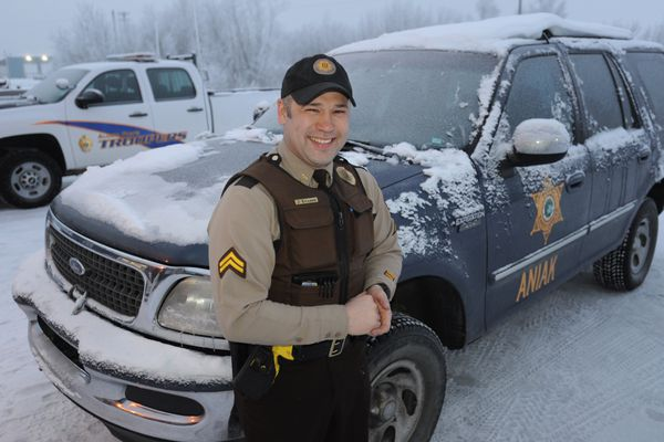 Village Public Safety Officer James Kvamme on Wednesday, Jan. 12, 2017, grew up in Aniak which is one of the communities he serves in Western Alaska. VPSO Kvamme has completed the firearms training course but still responds to calls unarmed. (Bill Roth / Alaska Dispatch News)