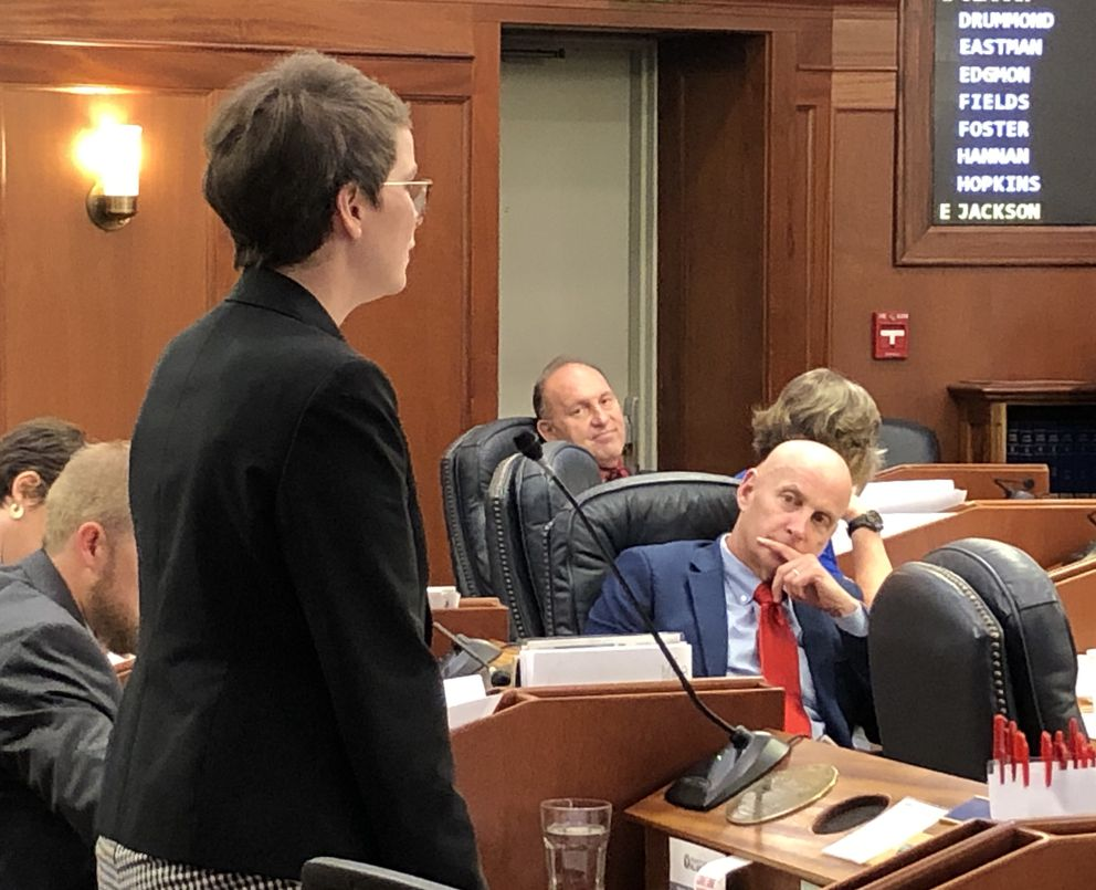 Rep. Sarah Vance, R-Homer, speaks in favor of a budget amendment calling for a $3,000 Permanent Fund dividend. At right, Rep. Dan Ortiz, I-Ketchikan, listens to the speech Wednesday afternoon, July 24, 2019. (James Brooks / ADN)