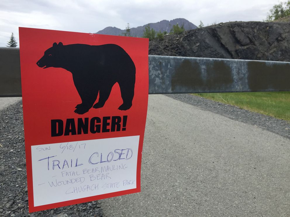 A sign alerts park users that the Bird Ridge trail is closed on Monday. (Marc Lester / Alaska Dispatch News)