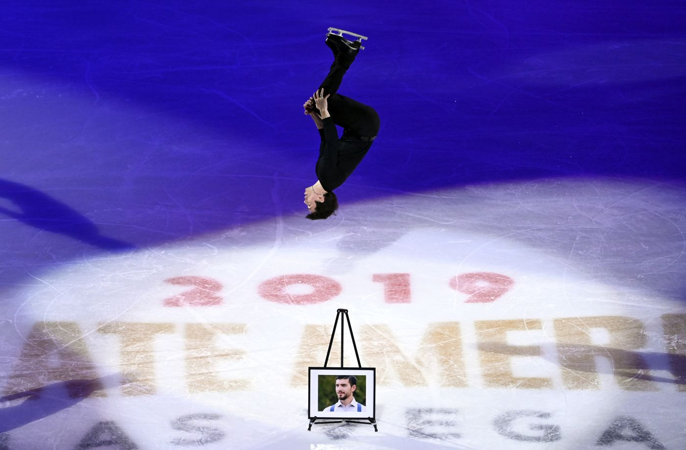 Keegan Messing performs in honor of his late brother Paxon during the International Skating Union Grand Prix of Figure Skating Series exhibition Sunday, Oct. 20, 2019, in Las Vegas. (AP Photo/David Becker)