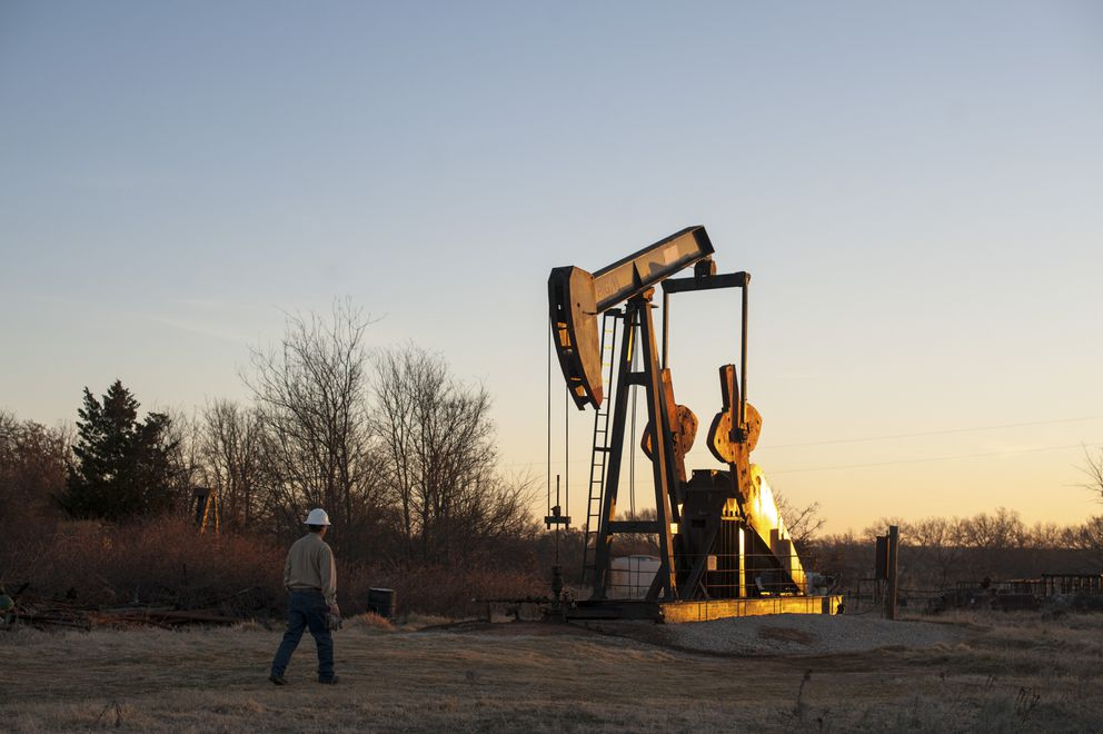 A pump jack near Ardmore, Okla., Feb. 12, 2016. A rule requiring companies to collect data on methane emissions has been withdrawn by the Trump administration's Environmental Protection Agency. (Brandon Thibodeaux/The New York Times file)