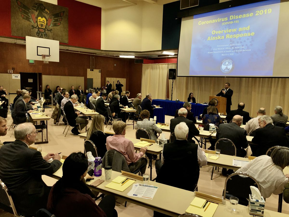 Members of the Alaska Legislature gather in a Juneau gymnasium Wednesday, March 4, 2020 to hear a coronavirus briefing from the Alaska Department of Health and Social Services. (James Brooks / ADN)