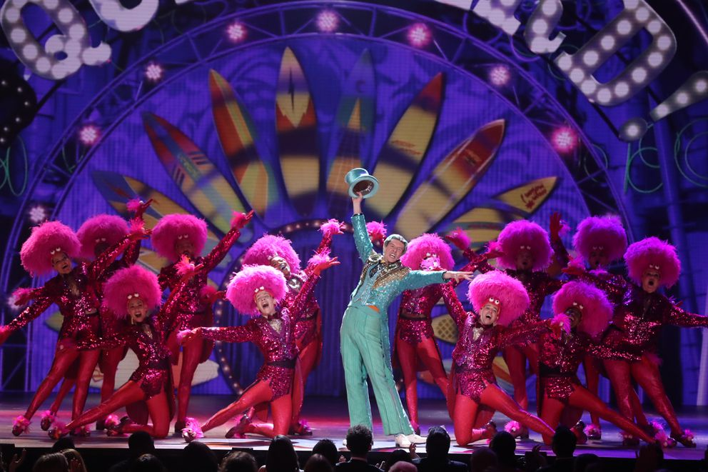 "The cast of ""SpongeBob SquarePants: The Musical"" performs at the 72nd Annual Tony Awards at Radio City Music Hall in New York, June 10, 2018. (Sara Krulwich/The New York Times)"
