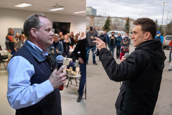 Dave Bronson, left, at a campaign event in Eagle River on Thursday, and Forrest Dunbar, right, at a campaign event in Anchorage on Saturday. (Bronson photo by Marc Lester / ADN, Dunbar photo by Loren Holmes / ADN)
