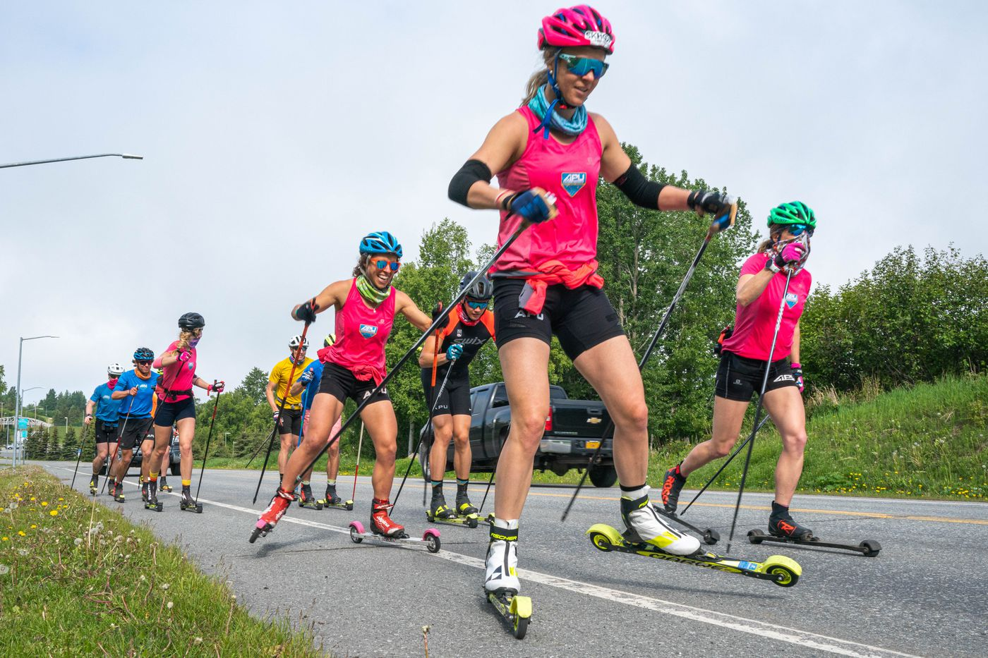 Sadie Maubet Bjornsen rollerskis with the Alaska Pacific University ski team during a 50-kilometer training session on June 10, 2020 at Kincaid Park in Anchorage. (Loren Holmes / ADN)