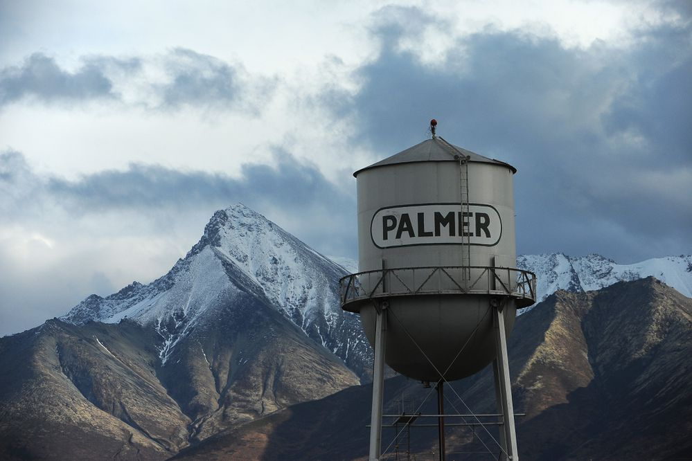 The Palmer water tower sits in downtown Palmer, AK with Matanuska Peak in the background on Tuesday, Oct 16, 2018. (Bob Hallinen / ADN)