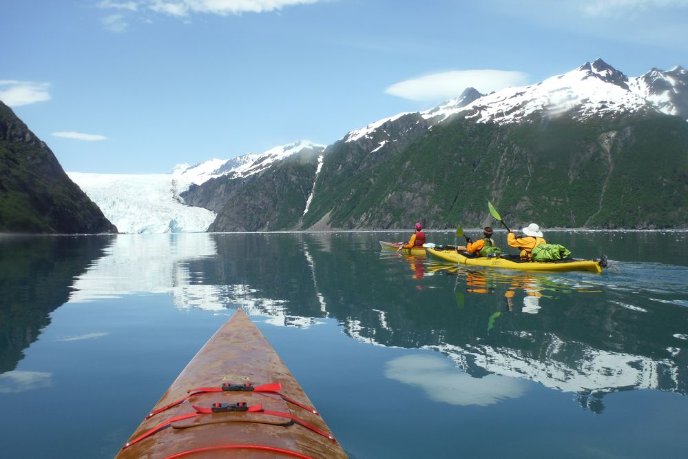 Aialik Glacier, in Kenai Fjords National Park, as seen by kayak. (Photo by Zack Fields)