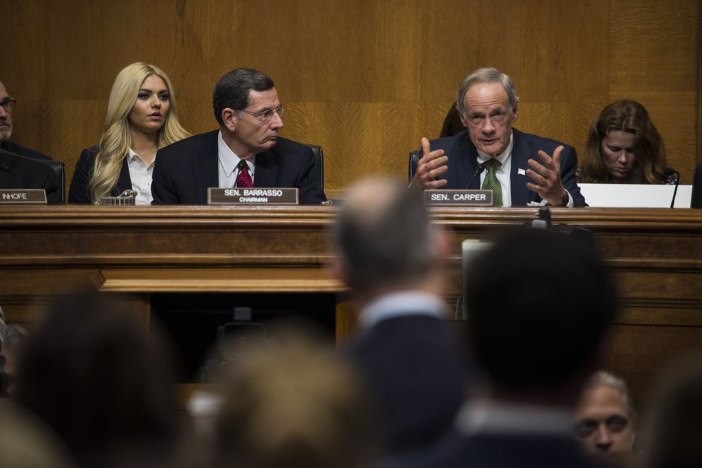 Sen. Tom Carper (D-Del.), the ranking member of Senate Environment and Public Works Committee, questions Scott Pruitt during his confirmation hearing on Capitol Hill in Washington on Wednesday. (Gabriella Demczuk/The New York Times)
