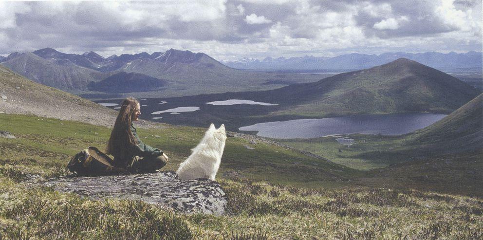Cirrus and Shannon Cartwrightin the warm sun enjoying an incredible view of the Alaska Range in the1970s. (Courtesy of Shannon Cartwright)