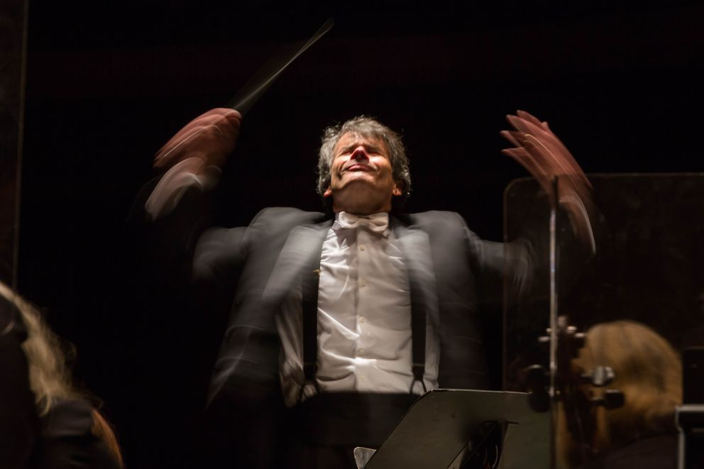Randall Craig Fleischer conducts the Anchorage Symphony Orchestra during their 'People's Choice ' concert on November 17, 2015. (Loren Holmes / ADN archive 2015)