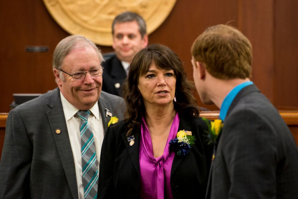 Reps. Mike Chenault and Charisse Millett in theCapitol in January. (Marc Lester / Alaska Dispatch News)