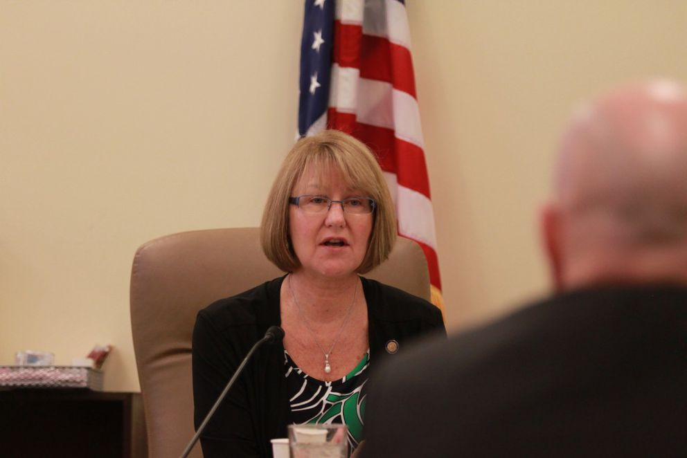 Eagle River Republican Sen. Anna MacKinnon addresses a state university official at a budget subcommittee meeting at the Capitol on Monday. The subcommittee proposed to reduce the university's budget by 5 percent, or $16.3 million. (Nathaniel Herz / Alaska Dispatch News)
