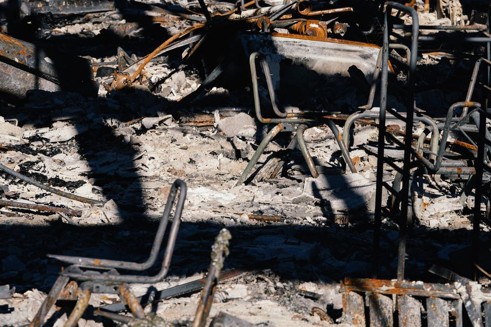Damage was significant at Ponderosa Elementary School in Paradise, California. The fire destroyed all but two of the small school system's buildings. (Photo by Mason Trinca for The Washington Post)