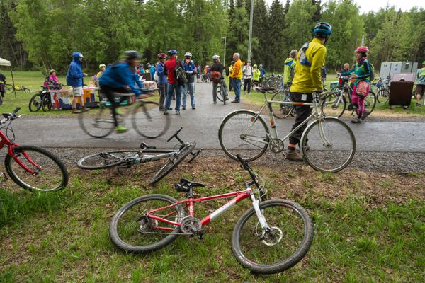 The bacon station, one of Anchorage's most popular bike to work day stations, on May 18, 2016. (Loren Holmes / Alaska Dispatch News)