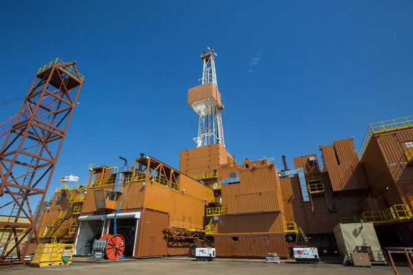 Doyon Drilling Rig 26, the largest mobile drilling rig in North America, was on its way through Canada to the North Slope in September. ConocoPhillips contracted with the Interior Alaska Native corporation in 2016 to construct the rig, which will start drilling on the North Slope next spring. (Courtesy ConocoPhillips)
