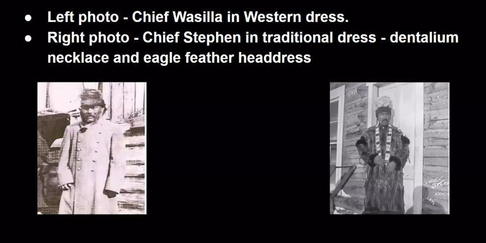 Design for the new mascot was influenced by two historic photographs of Chief Wasilla, left, and Chief Stephen, right. (Screenshot of Wasilla High School presentation)