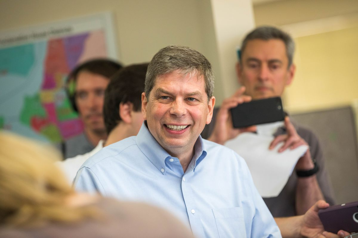 Mark Begich files to run for governor Friday, June 1, 2018 at the state division of elections office in Midtown Anchorage. (Loren Holmes / ADN)