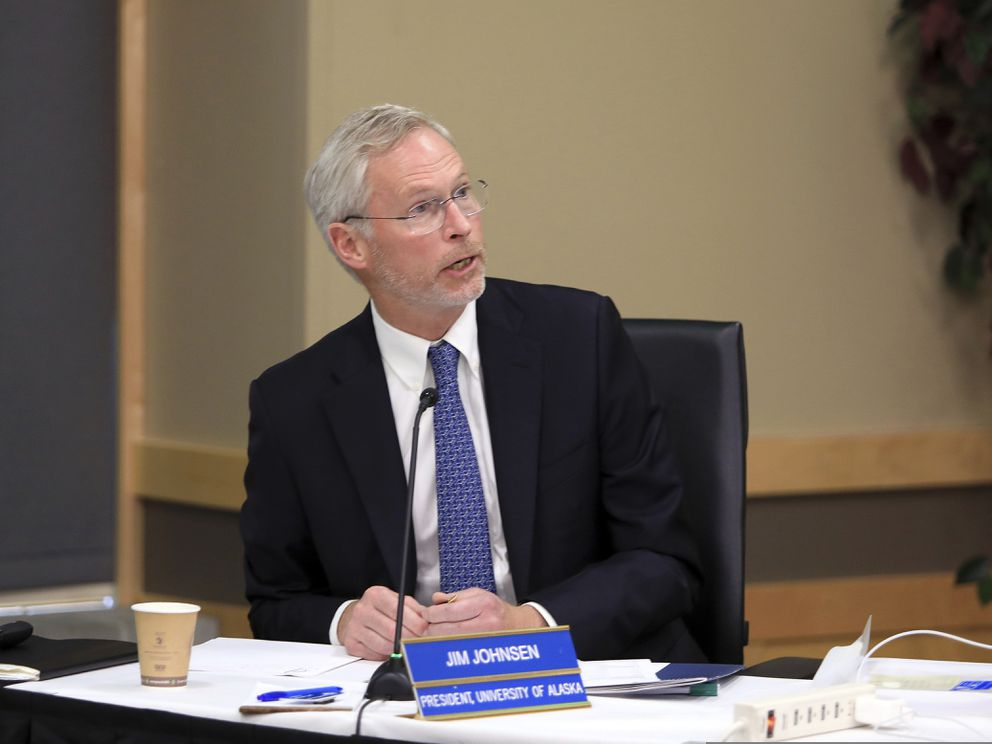 University of Alaska President Jim Johnsen speaks at a UA Board of Regents meeting, Tuesday, July 30, 2019, in Anchorage, Alaska. Facing severe budget cuts, regents voted 8-3 to authorize Johnsen to immediately reduce administrative costs and prepare a plan for a transition from three accredited institutions to one. (AP Photo/Dan Joling)